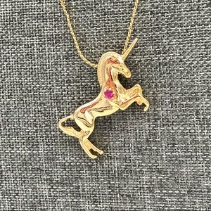 Prancing Unicorn Faux Ruby Serpentine Necklace